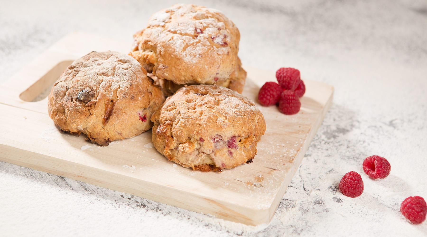 Raspberry And White Chocolate Scones Mortons Flour